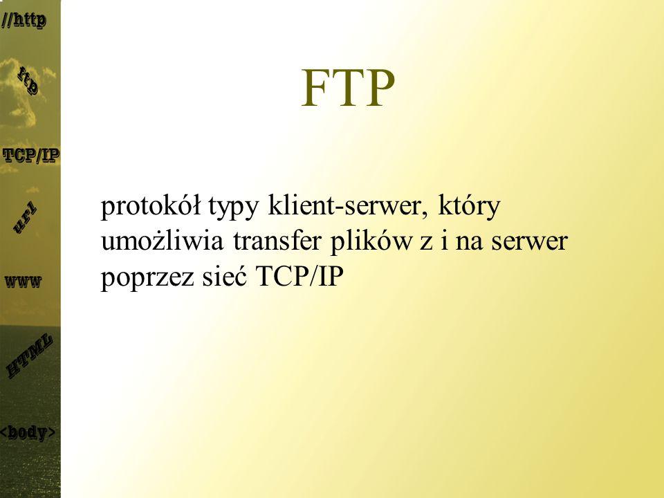 FTP protokół typy klient-serwer, który umożliwia transfer plików z i na serwer poprzez sieć TCP/IP