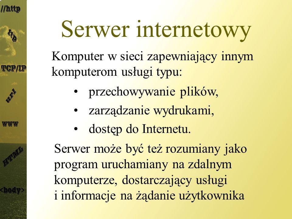 Serwer internetowy Komputer w sieci zapewniający innym komputerom usługi typu: przechowywanie plików, zarządzanie wydrukami, dostęp do Internetu. Serw