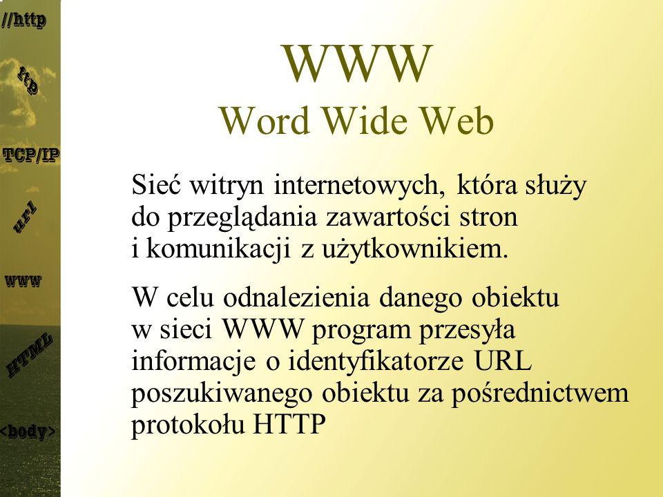 WWW Word Wide Web Sieć witryn internetowych, która służy do przeglądania zawartości stron i komunikacji z użytkownikiem. W celu odnalezienia danego ob