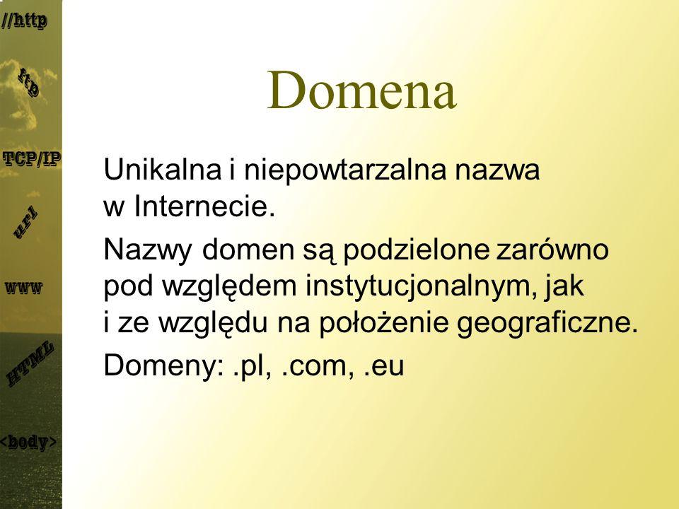 Domena Unikalna i niepowtarzalna nazwa w Internecie. Nazwy domen są podzielone zarówno pod względem instytucjonalnym, jak i ze względu na położenie ge