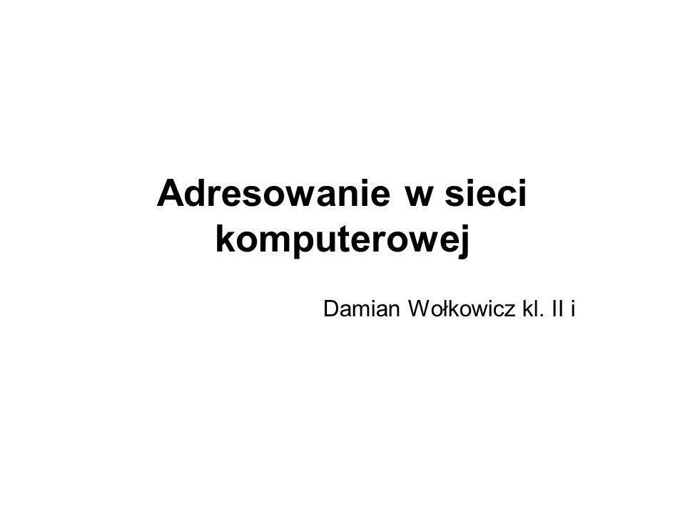 Adresowanie w sieci komputerowej Damian Wołkowicz kl. II i