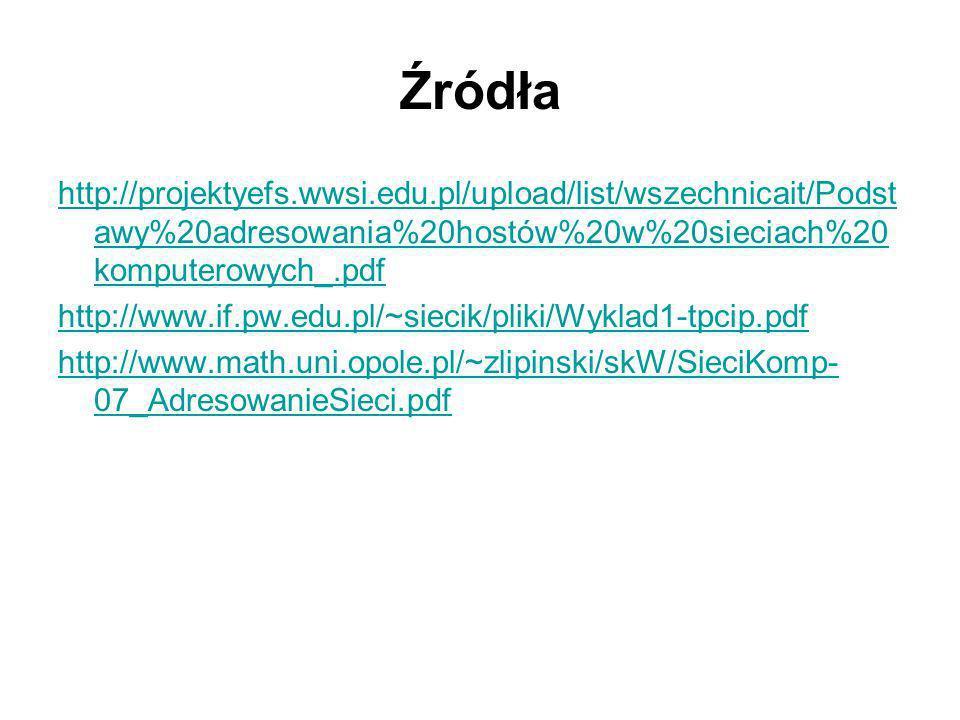 Źródła http://projektyefs.wwsi.edu.pl/upload/list/wszechnicait/Podst awy%20adresowania%20hostów%20w%20sieciach%20 komputerowych_.pdf http://www.if.pw.