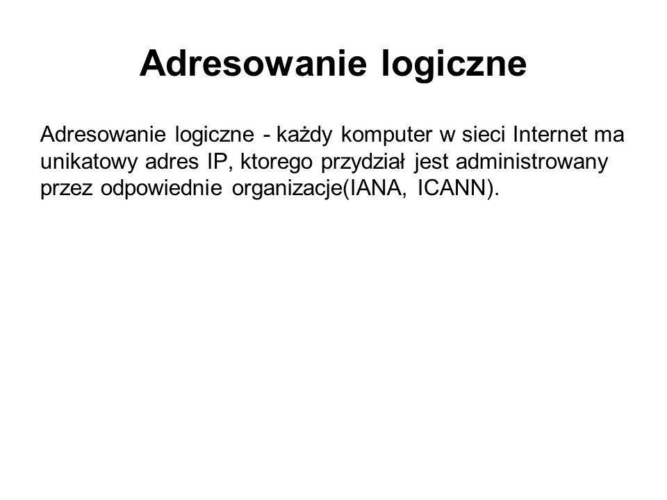 Adresowanie logiczne Adresowanie logiczne - każdy komputer w sieci Internet ma unikatowy adres IP, ktorego przydział jest administrowany przez odpowie