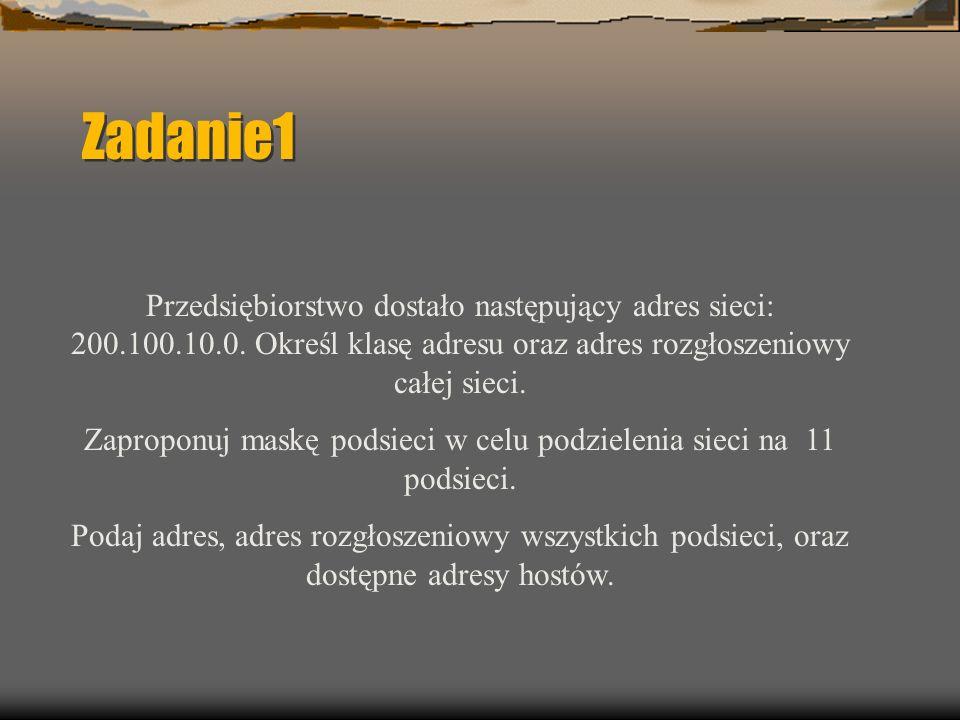 Zadanie1 Przedsiębiorstwo dostało następujący adres sieci: 200.100.10.0.