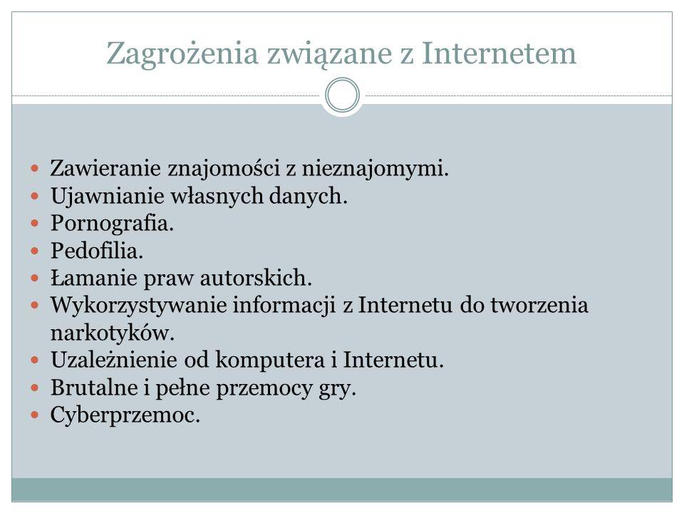 Zagrożenia związane z Internetem Zawieranie znajomości z nieznajomymi.