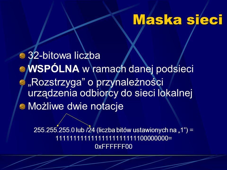 Tworzenie maski sieci 0000000011111111 Maska 00001010 IP adres Numer podsieciID urządzenia w ramach podsieci 0255.