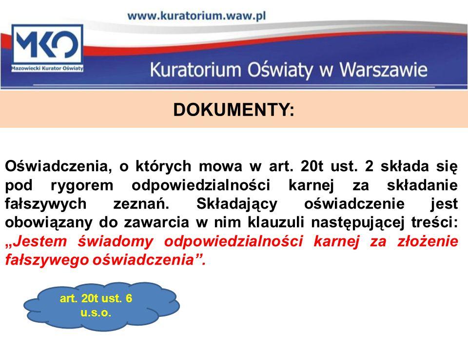 DOKUMENTY: Oświadczenia, o których mowa w art. 20t ust.