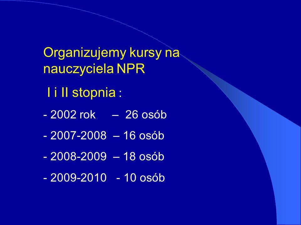 Organizujemy kursy na nauczyciela NPR I i II stopnia : - 2002 rok – 26 osób - 2007-2008 – 16 osób - 2008-2009 – 18 osób - 2009-2010 - 10 osób