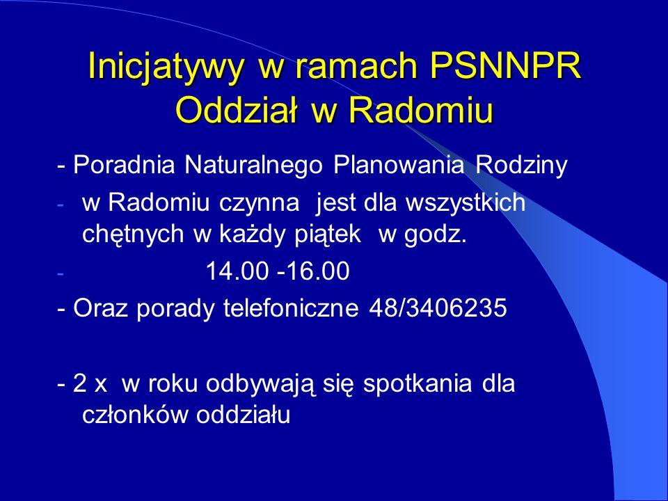 Inicjatywy w ramach PSNNPR Oddział w Radomiu - Poradnia Naturalnego Planowania Rodziny - w Radomiu czynna jest dla wszystkich chętnych w każdy piątek