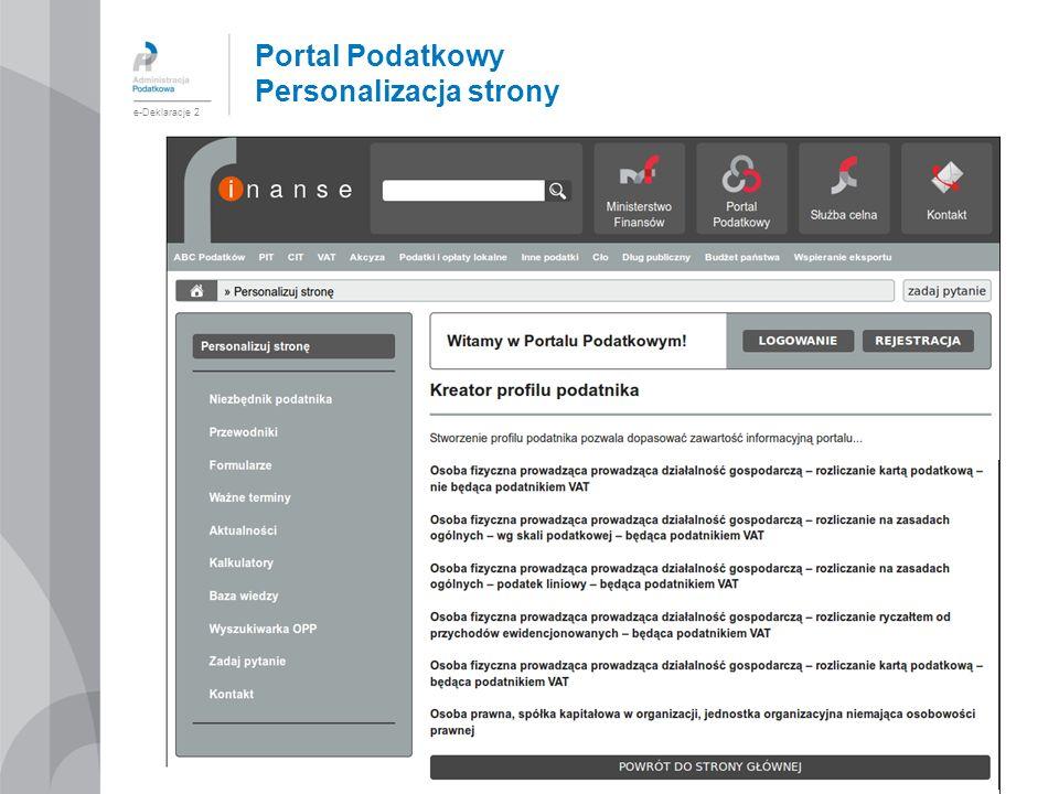 Portal Podatkowy Personalizacja strony e-Deklaracje 2