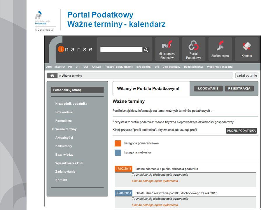 Portal Podatkowy Ważne terminy - kalendarz e-Deklaracje 2
