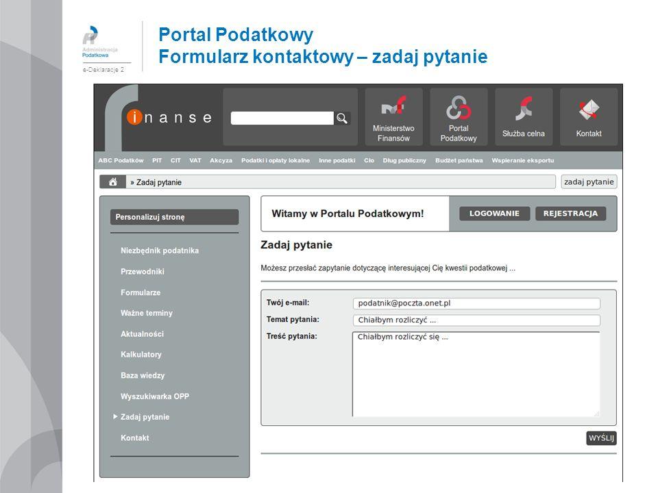 Portal Podatkowy Formularz kontaktowy – zadaj pytanie e-Deklaracje 2