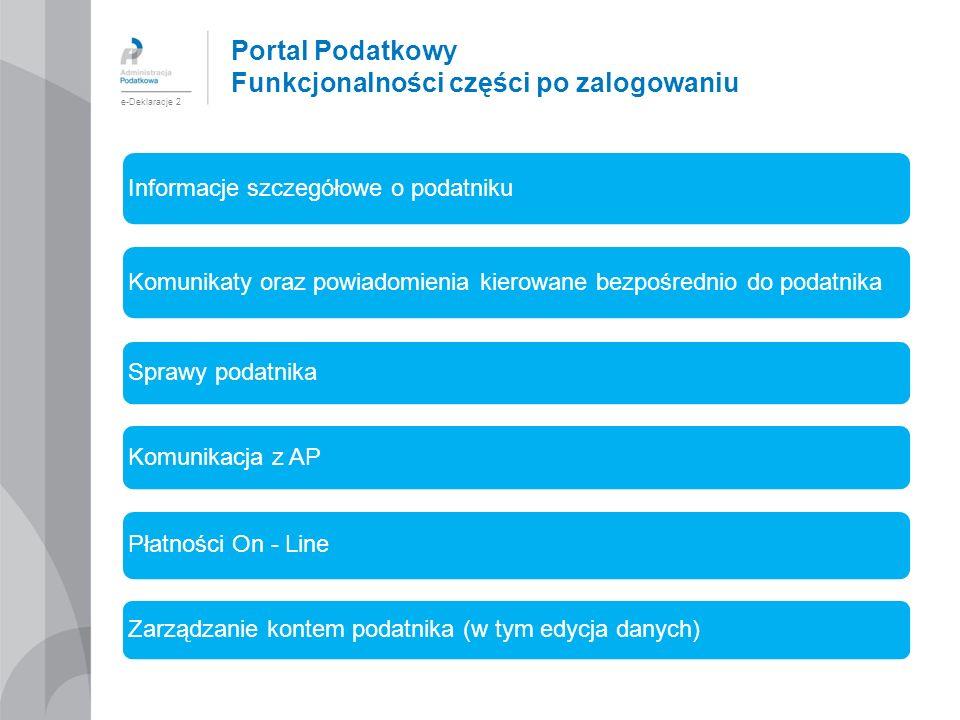 Portal Podatkowy Funkcjonalności części po zalogowaniu e-Deklaracje 2 Informacje szczegółowe o podatniku Komunikaty oraz powiadomienia kierowane bezpo