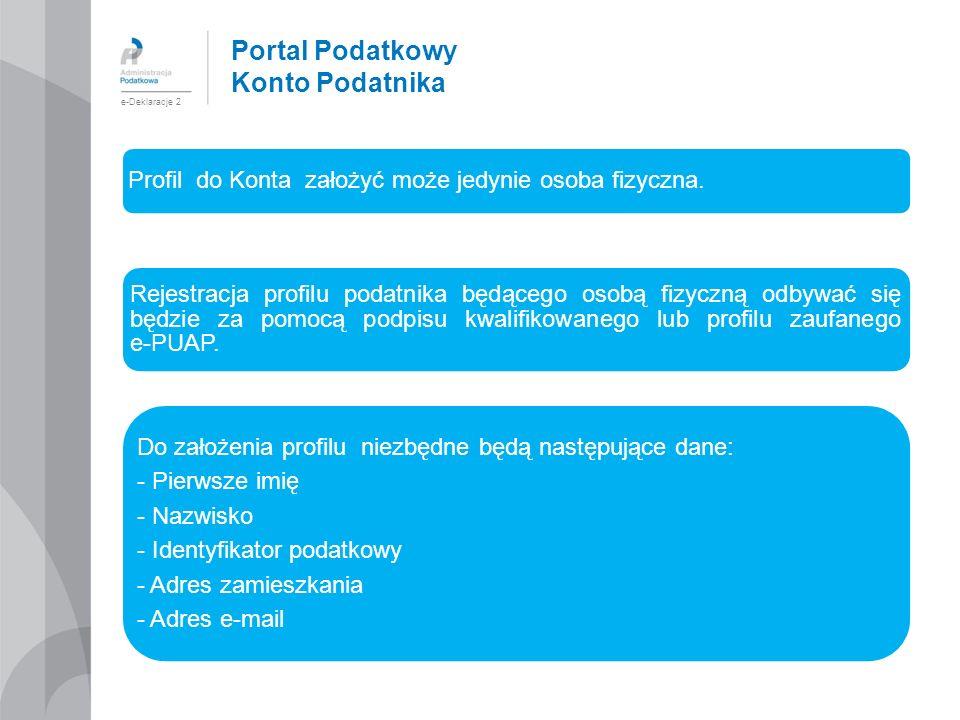 Portal Podatkowy Konto Podatnika e-Deklaracje 2 Profil do Konta założyć może jedynie osoba fizyczna. Rejestracja profilu podatnika będącego osobą fizy