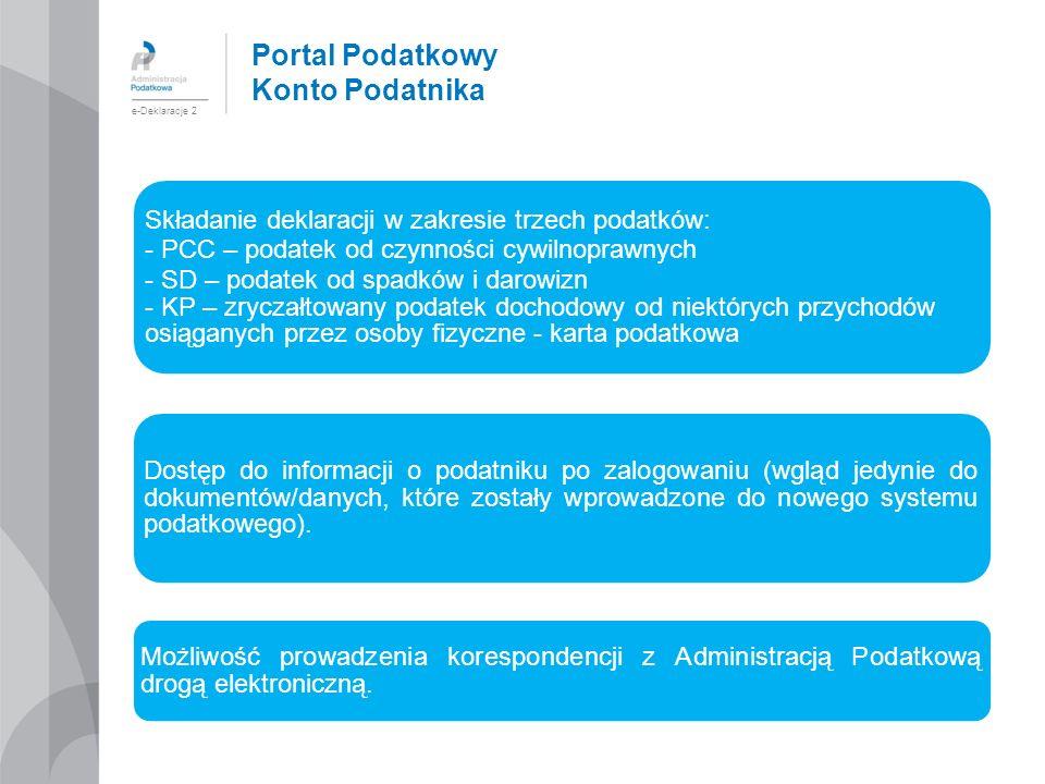 Portal Podatkowy Konto Podatnika e-Deklaracje 2 Składanie deklaracji w zakresie trzech podatków: - PCC – podatek od czynności cywilnoprawnych - SD – p
