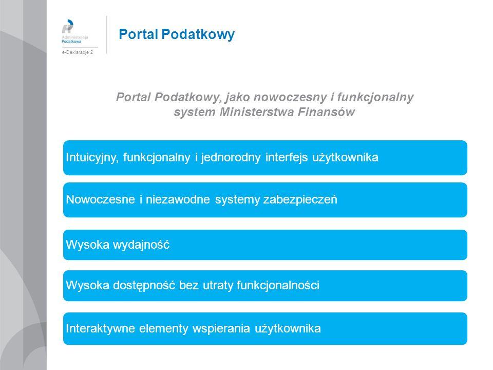 Portal Podatkowy, jako nowoczesny i funkcjonalny system Ministerstwa Finansów e-Deklaracje 2 Intuicyjny, funkcjonalny i jednorodny interfejs użytkowni