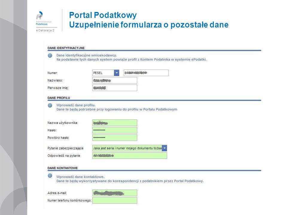 Portal Podatkowy Uzupełnienie formularza o pozostałe dane e-Deklaracje 2