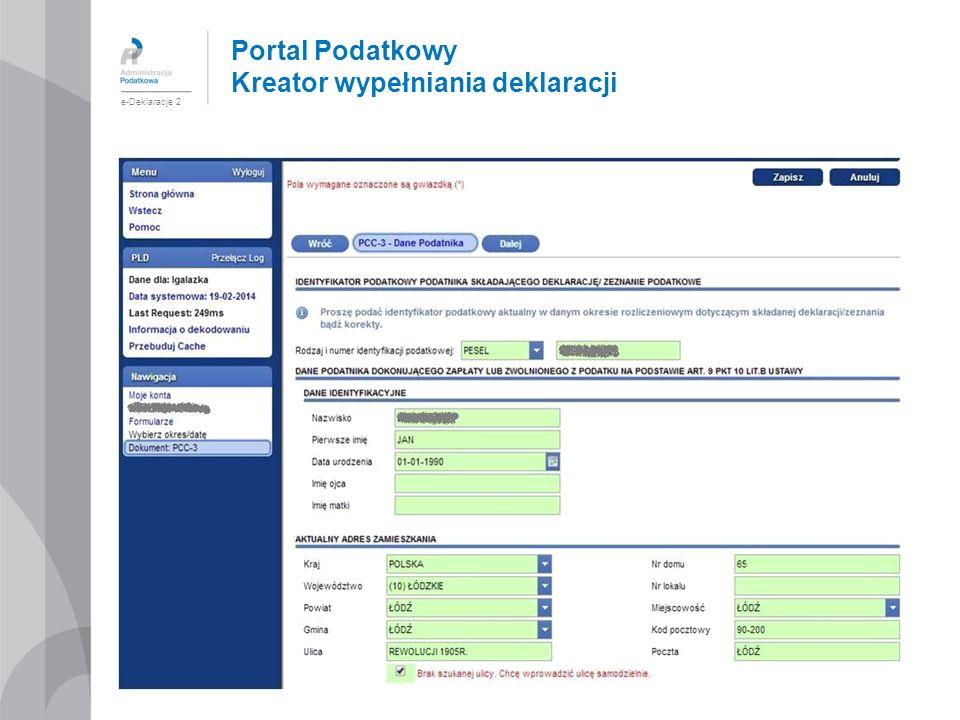 Portal Podatkowy Kreator wypełniania deklaracji e-Deklaracje 2
