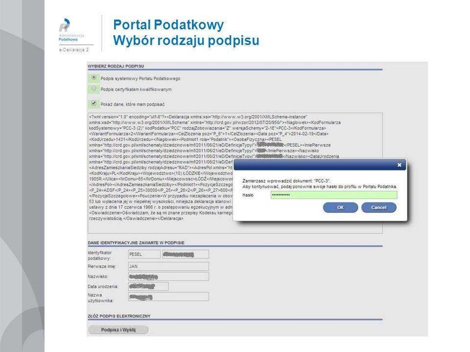 Portal Podatkowy Wybór rodzaju podpisu e-Deklaracje 2