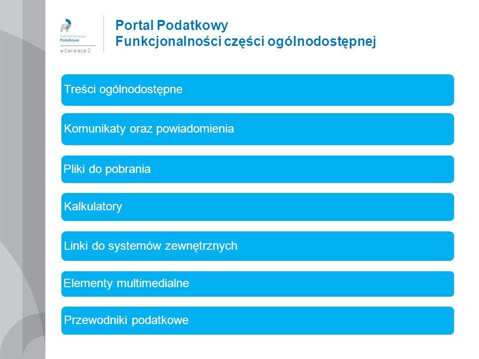 Portal Podatkowy Funkcjonalności części ogólnodostępnej e-Deklaracje 2 Treści ogólnodostępne Komunikaty oraz powiadomienia Pliki do pobrania Kalkulato