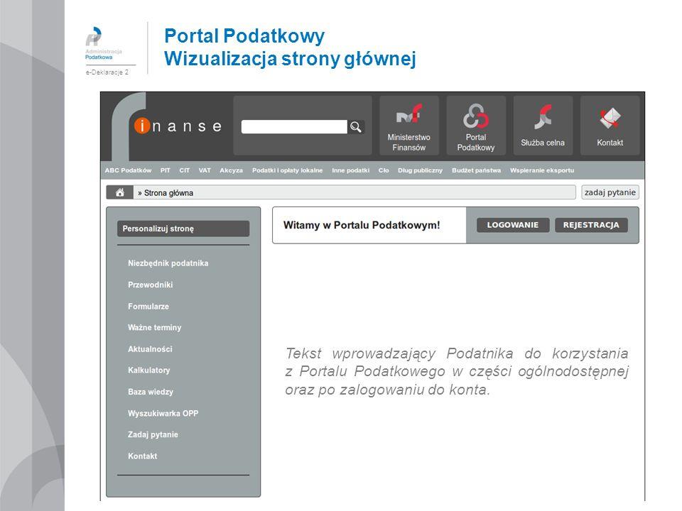 Portal Podatkowy Wizualizacja strony głównej e-Deklaracje 2 Tekst wprowadzający Podatnika do korzystania z Portalu Podatkowego w części ogólnodostępne