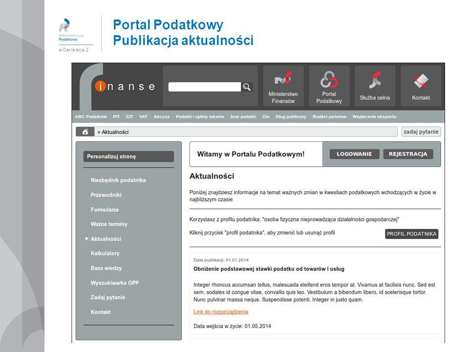 Portal Podatkowy Publikacja aktualności e-Deklaracje 2