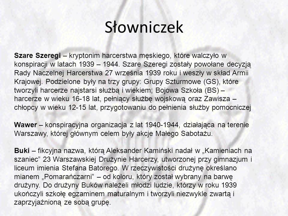 Słowniczek Szare Szeregi – kryptonim harcerstwa męskiego, które walczyło w konspiracji w latach 1939 – 1944.