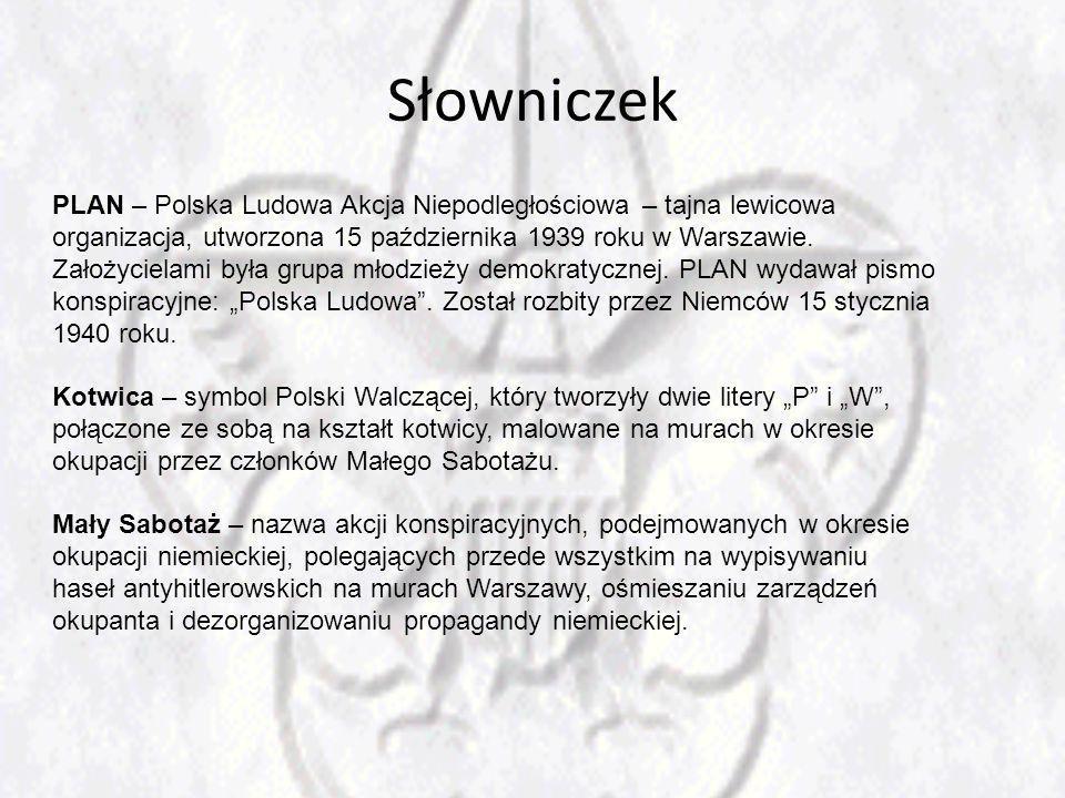 Słowniczek PLAN – Polska Ludowa Akcja Niepodległościowa – tajna lewicowa organizacja, utworzona 15 października 1939 roku w Warszawie. Założycielami b