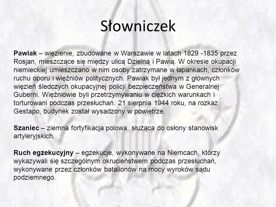 Słowniczek Pawiak – więzienie, zbudowane w Warszawie w latach 1829 -1835 przez Rosjan, mieszczące się między ulicą Dzielną i Pawią. W okresie okupacji