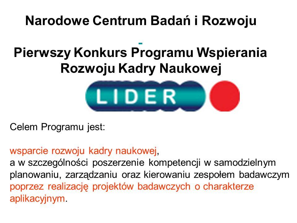 Uprzejmie informujemy o otwarciu przez Dyrektora Narodowego Centrum Badań i Rozwoju pierwszego konkursu na projekty w ramach Programu LIDER.