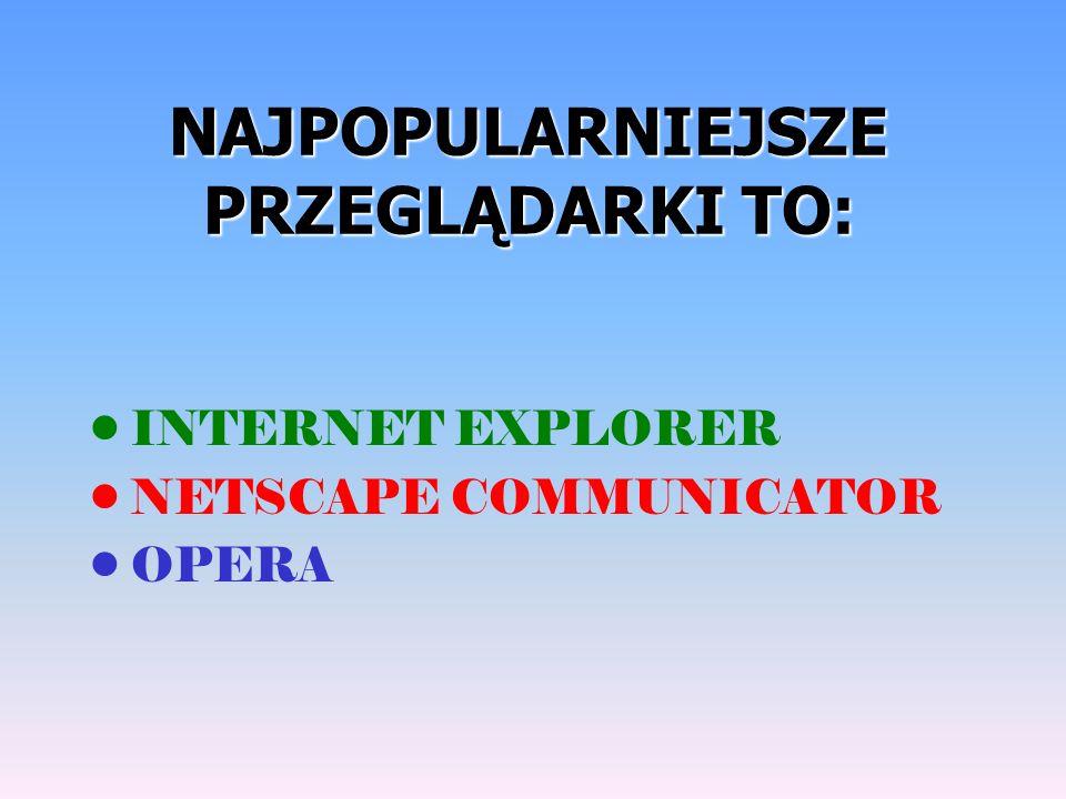 NAJPOPULARNIEJSZE PRZEGLĄDARKI TO: INTERNET EXPLORER NETSCAPE COMMUNICATOR OPERA