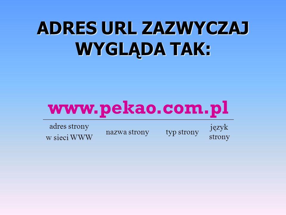 ADRESURL ZAZWYCZAJ WYGLĄDA TAK: ADRES URL ZAZWYCZAJ WYGLĄDA TAK: język strony typ stronynazwa strony adres strony w sieci WWW www.pekao.com.pl