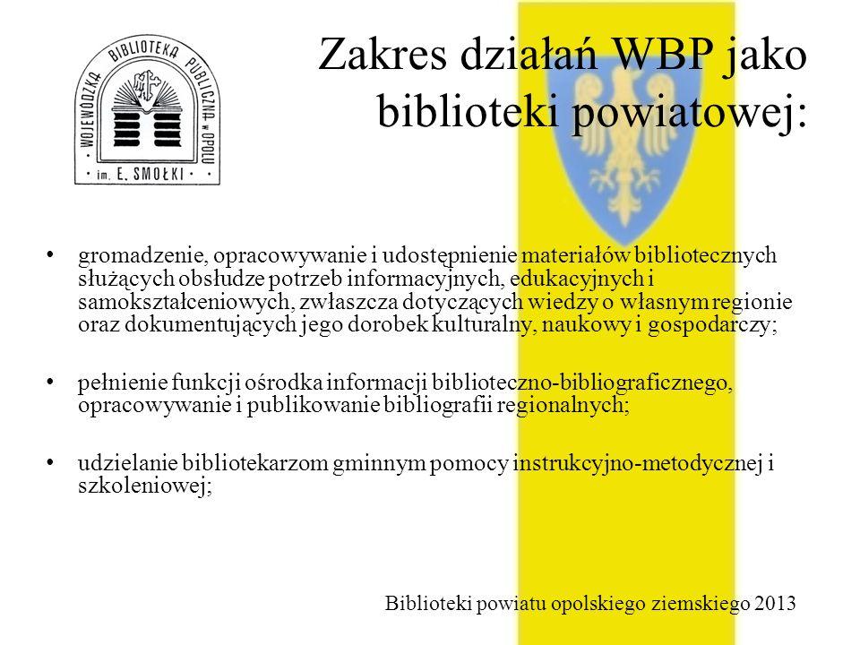 Zakres działań WBP jako biblioteki powiatowej: gromadzenie, opracowywanie i udostępnienie materiałów bibliotecznych służących obsłudze potrzeb informacyjnych, edukacyjnych i samokształceniowych, zwłaszcza dotyczących wiedzy o własnym regionie oraz dokumentujących jego dorobek kulturalny, naukowy i gospodarczy; pełnienie funkcji ośrodka informacji biblioteczno-bibliograficznego, opracowywanie i publikowanie bibliografii regionalnych; udzielanie bibliotekarzom gminnym pomocy instrukcyjno-metodycznej i szkoleniowej; Biblioteki powiatu opolskiego ziemskiego 2013