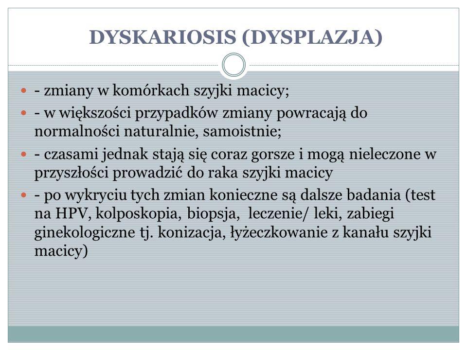 DYSKARIOSIS (DYSPLAZJA) - zmiany w komórkach szyjki macicy; - w większości przypadków zmiany powracają do normalności naturalnie, samoistnie; - czasam