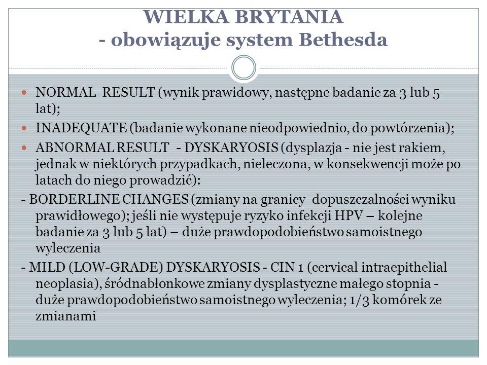WIELKA BRYTANIA - obowiązuje system Bethesda NORMAL RESULT (wynik prawidowy, następne badanie za 3 lub 5 lat); INADEQUATE (badanie wykonane nieodpowie