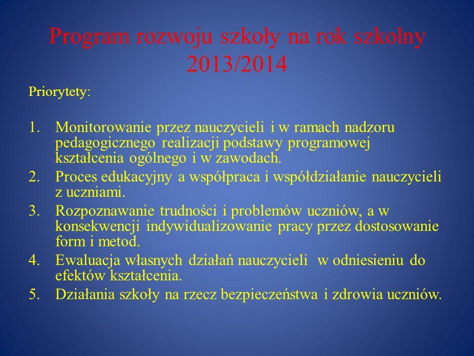 Program rozwoju szkoły na rok szkolny 2013/2014 Priorytety: 1.Monitorowanie przez nauczycieli i w ramach nadzoru pedagogicznego realizacji podstawy pr