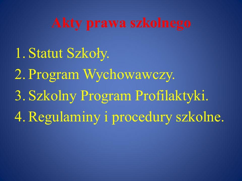 Akty prawa szkolnego 1.Statut Szkoły. 2.Program Wychowawczy. 3.Szkolny Program Profilaktyki. 4.Regulaminy i procedury szkolne.