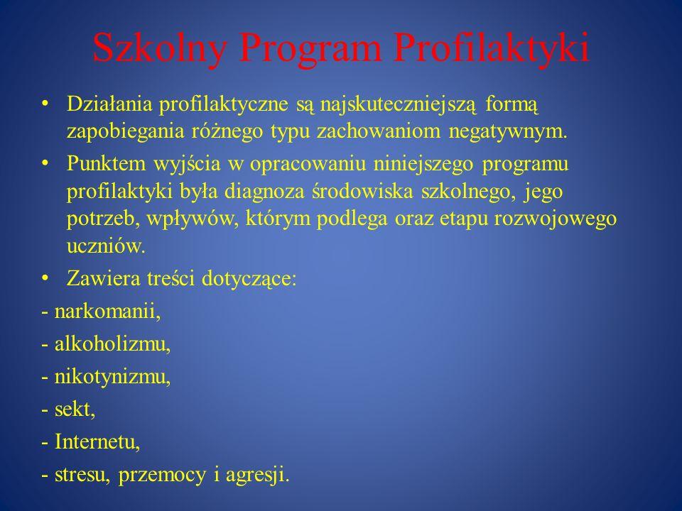 Szkolny Program Profilaktyki Realizacja programu : pedagogizacja rodziców poprzez: spotkania z wychowawcami, pedagogiem, specjalistami np.