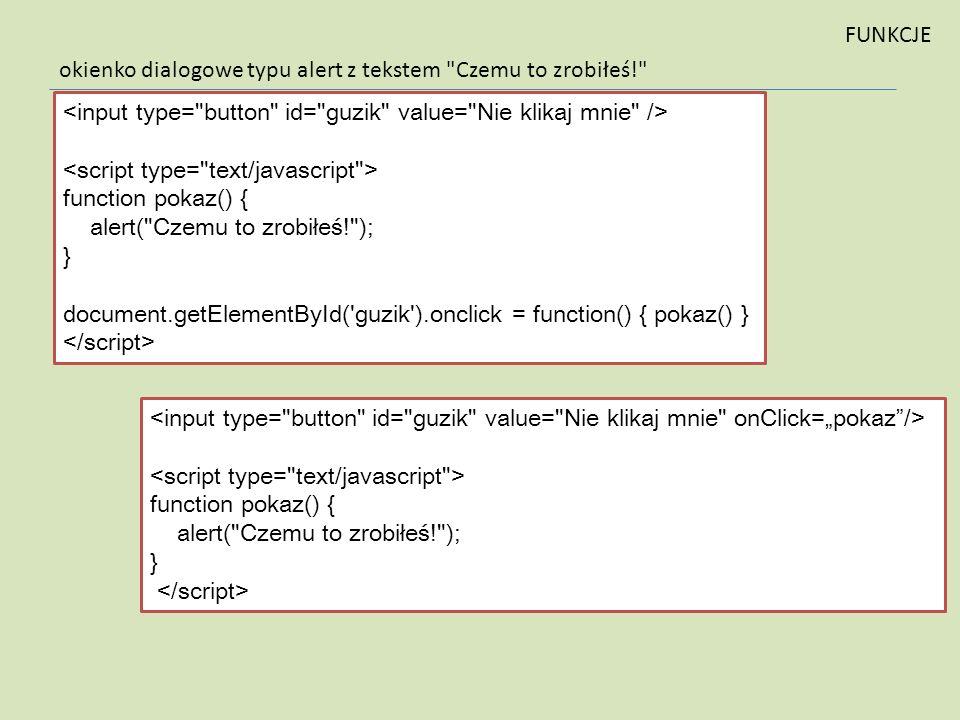 okienko dialogowe typu alert z tekstem