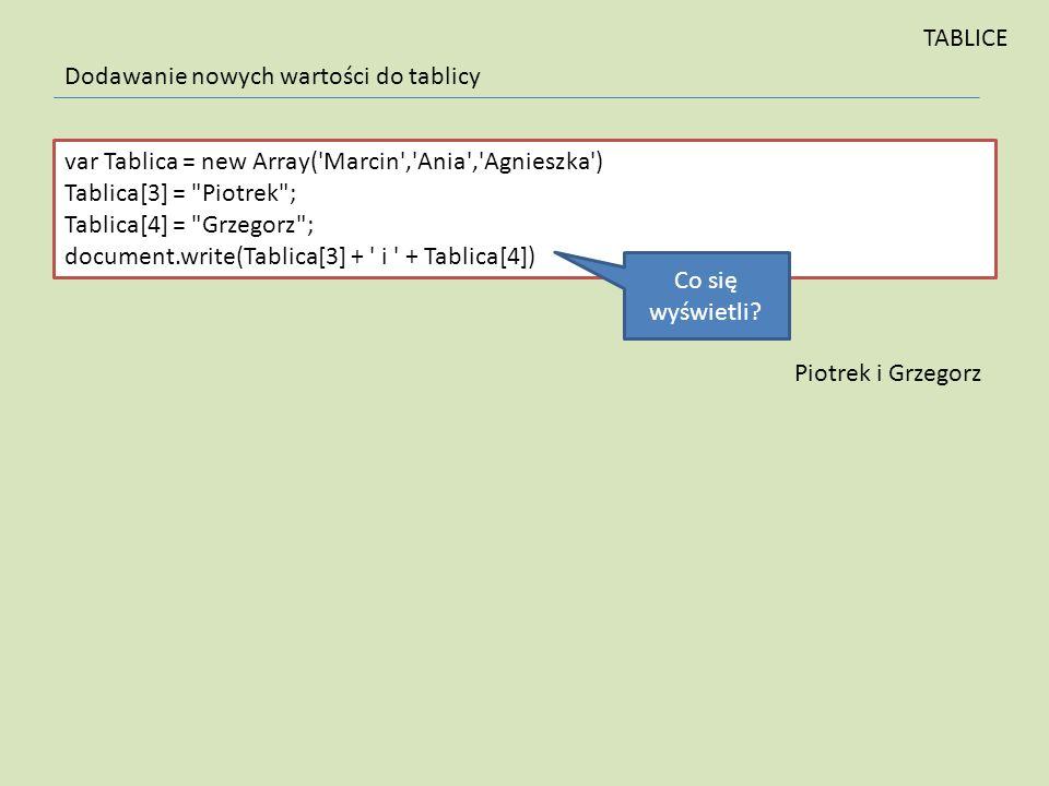 var Tablica = new Array('Marcin','Ania','Agnieszka') Tablica[3] =