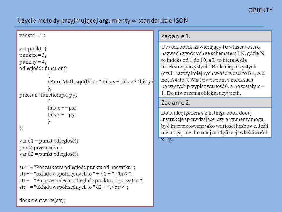 Użycie metody przyjmującej argumenty w standardzie JSON var str =