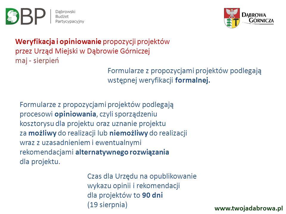 www.twojadabrowa.pl Weryfikacja i opiniowanie propozycji projektów przez Urząd Miejski w Dąbrowie Górniczej maj - sierpień Formularze z propozycjami p