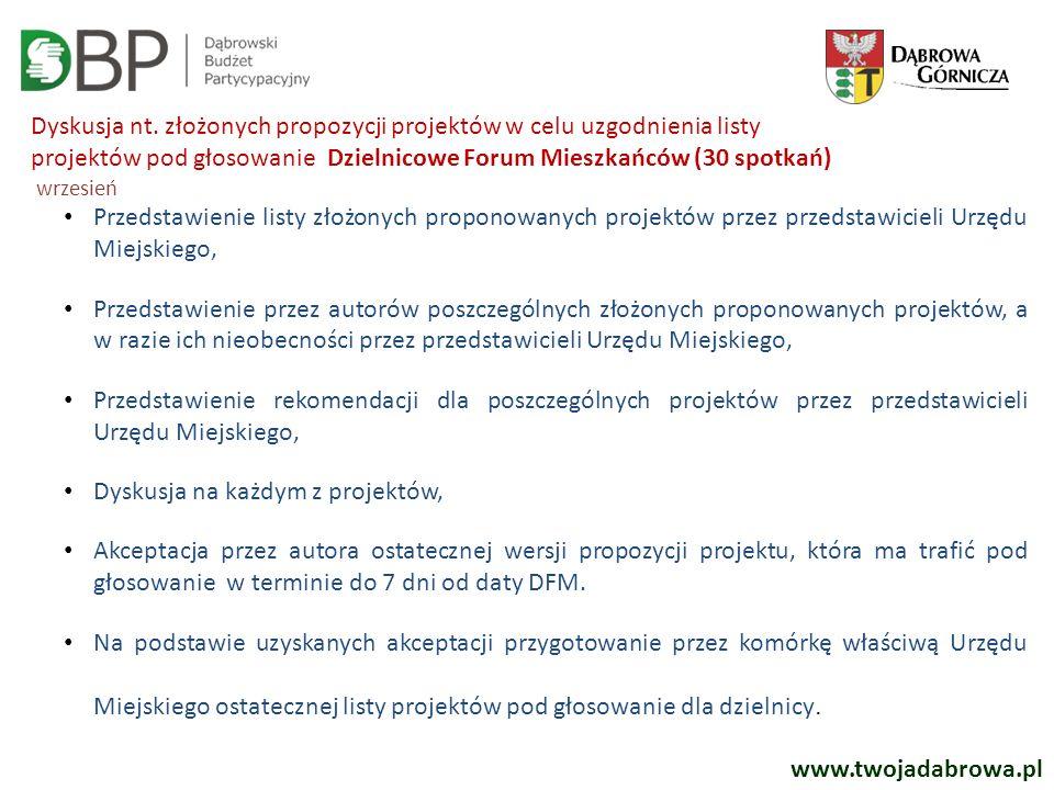 www.twojadabrowa.pl Dyskusja nt. złożonych propozycji projektów w celu uzgodnienia listy projektów pod głosowanie Dzielnicowe Forum Mieszkańców (30 sp