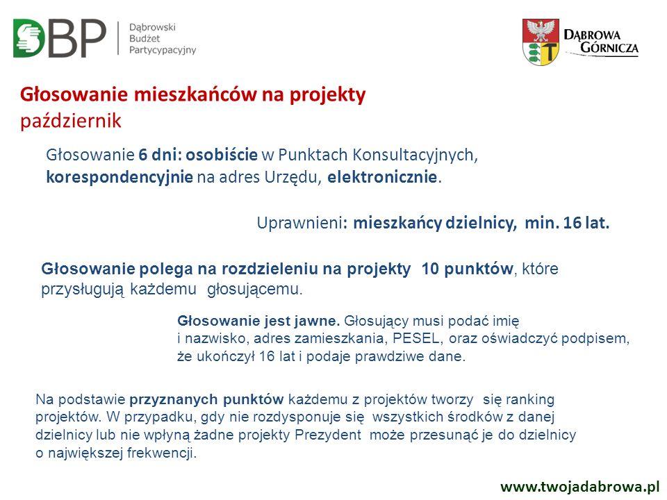 www.twojadabrowa.pl Głosowanie mieszkańców na projekty październik Głosowanie 6 dni: osobiście w Punktach Konsultacyjnych, korespondencyjnie na adres Urzędu, elektronicznie.