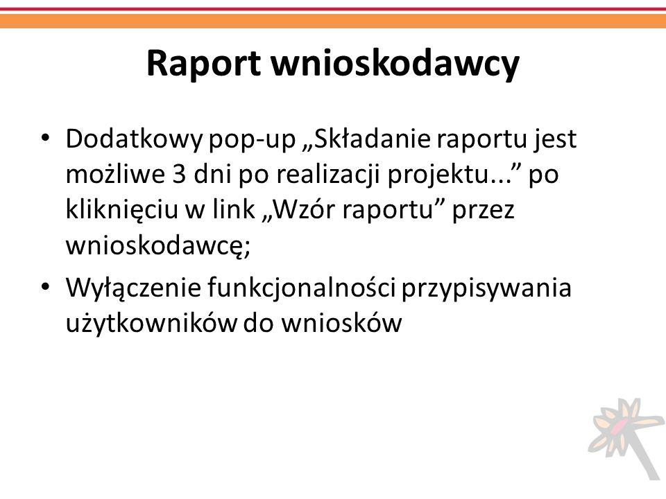 Raport wnioskodawcy Dodatkowy pop-up Składanie raportu jest możliwe 3 dni po realizacji projektu... po kliknięciu w link Wzór raportu przez wnioskodaw