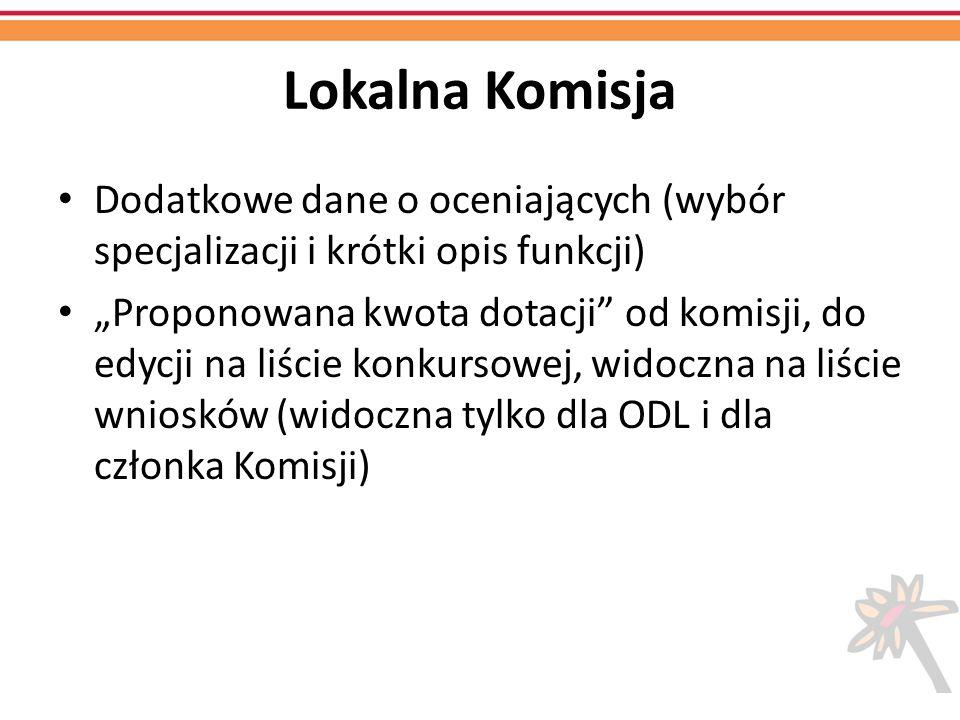 Lokalna Komisja Dodatkowe dane o oceniających (wybór specjalizacji i krótki opis funkcji) Proponowana kwota dotacji od komisji, do edycji na liście ko