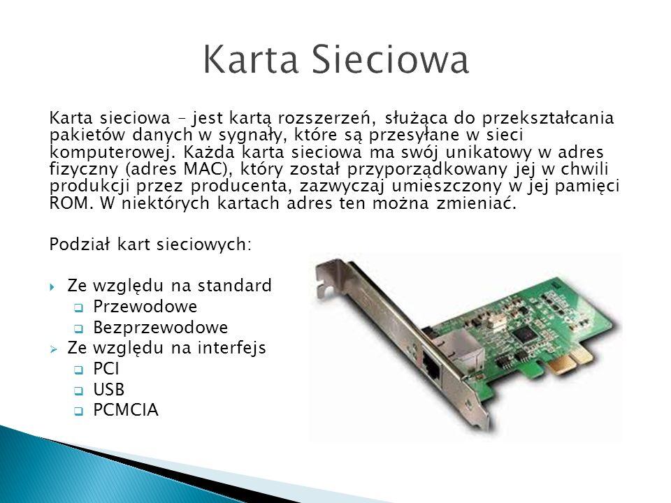 Karta sieciowa – jest kartą rozszerzeń, służąca do przekształcania pakietów danych w sygnały, które są przesyłane w sieci komputerowej. Każda karta si