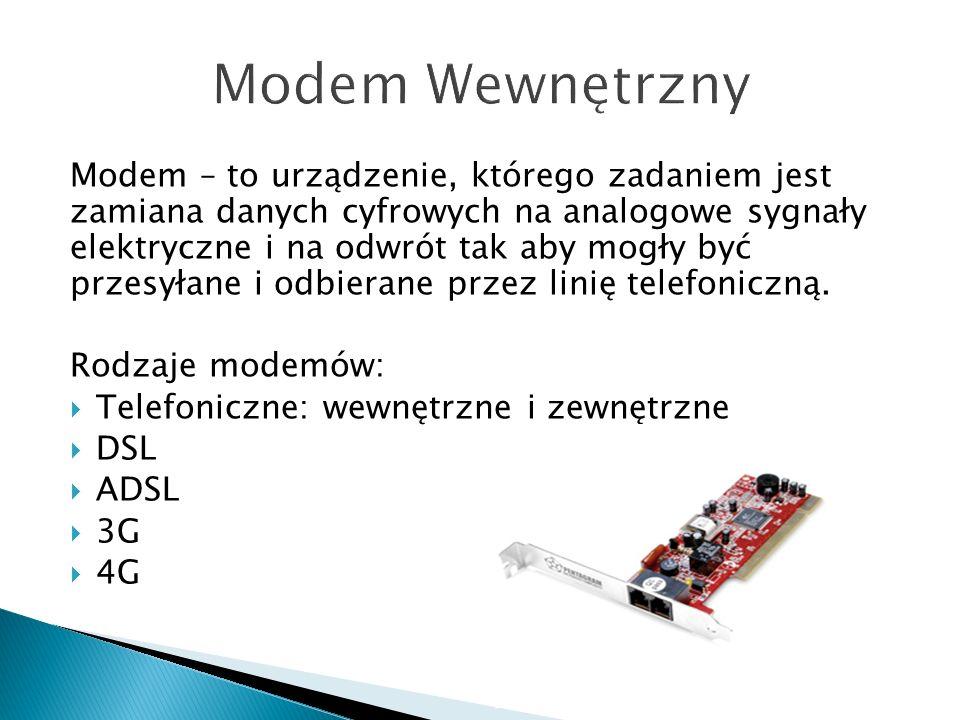 Modem – to urządzenie, którego zadaniem jest zamiana danych cyfrowych na analogowe sygnały elektryczne i na odwrót tak aby mogły być przesyłane i odbierane przez linię telefoniczną.