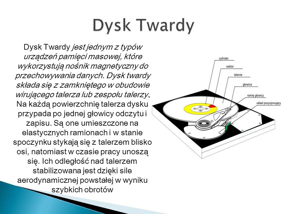 . Dysk Twardy jest jednym z typów urządzeń pamięci masowej, które wykorzystują nośnik magnetyczny do przechowywania danych. Dysk twardy składa się z z