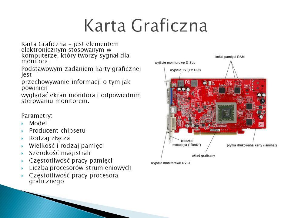 Karta Graficzna - jest elementem elektronicznym stosowanym w komputerze, który tworzy sygnał dla monitora. Podstawowym zadaniem karty graficznej jest